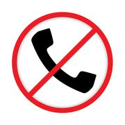 No cell phone sign. Mobile Phone prohibited. Stock Illustration