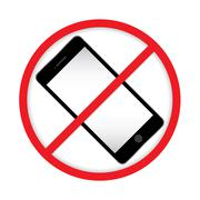 No cell phone sign. Mobile Phone prohibited. Turn off the mobile devices. Stock Illustration