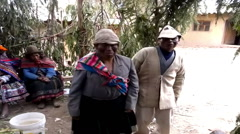Ancient Andean wedding ceremony performed in the highland Amaru village, Peru Stock Footage