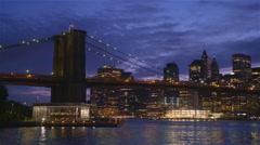 View of Brooklyn Bridge with the distinctive New York skyline Stock Footage