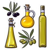 Set of olive oil bottles with black and green olives Stock Illustration