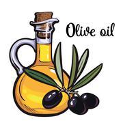 Olive oil bottle with black olives Stock Illustration