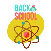Back to school poster with atomic orbit symbol Stock Illustration