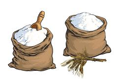 Wholemeal bread flour bags with wooden scoop and wheat ears Stock Illustration