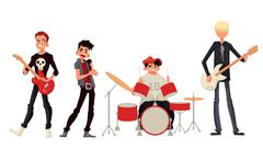 Cartoon rock group musicians vector illustration Stock Illustration