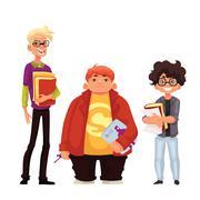 Set of isolated cartoon style nerds school boys Stock Illustration