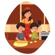 Mother and children preparing cookies in kitchen Stock Illustration