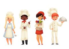 Isolated cartoon children chefs in hats and uniform - stock illustration