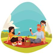 Happy family having picnic together outdoors Stock Illustration