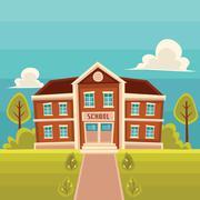Front view school building cartoon vector illustration Stock Illustration