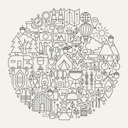 Camping Line Icons Circle Stock Illustration