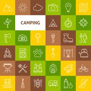 Vector Line Camping Icons Stock Illustration