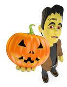 3D Funny monster. Frankenstein with a big pumpkin. Halloween Piirros