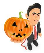 3D Funny monster. Devil with a big pumpkin. Halloween Piirros