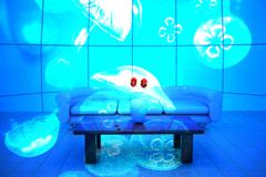 Jellyfish swimming on the back of glass wall Stock Illustration