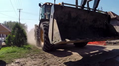 Wheel Loader Bulldozer in Dangerous Action Stock Footage
