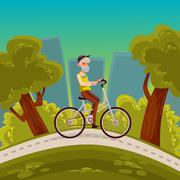 Elderly man with a beard riding  bicycle Stock Illustration
