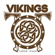Viking Battle shield with axes Stock Illustration