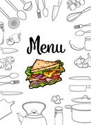 Sandwich, kitchenware and cutlery menu design illustration Stock Illustration