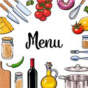 Square vegetable, kitchenware cheese and pasta menu design Stock Illustration
