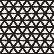 Vector Seamless Black And White Triangle Lines Grid Pattern Stock Illustration