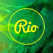 Abstract rio card design with yellow circle over green splash painted backgro Stock Illustration