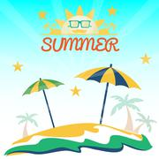 Summer holiday card with beach, sun with glasses, palms and umbrellas. Digita Stock Illustration