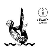 Brazil summer sport card with an abstract sportsman jumping in water, in blac Stock Illustration