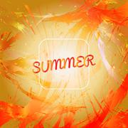 Abstract summer card design with white frame over orange splash painted backg Stock Illustration