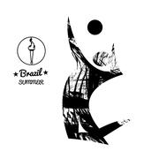 Brazil summer sport card with an abstract volley player jumping, in black out Stock Illustration