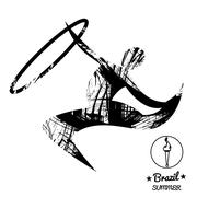 Brazil summer sport card with an abstract rhythmic hoop gymnastics player, in Stock Illustration