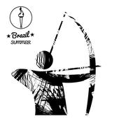 Brazil summer sport card with an abstract archery player, in black outlines. Stock Illustration