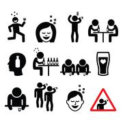 Drunk man and woman, people drinking alcohol icons set Stock Illustration