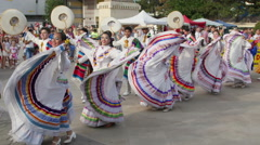 Traditional costumes parade at the International Folklore Festival Stock Footage