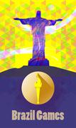 Brazil games, burning torch and statue over yellow background. Digital vector Stock Illustration