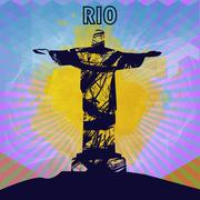 Abstract rio design in outlines with statue over colored background. Digital Stock Illustration