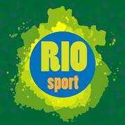 Abstract rio sport design with blue circle. Digital vector image Stock Illustration