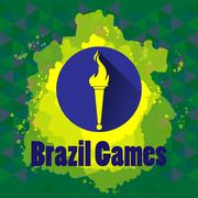 Abstract Brazil games design with burning flame logo on blue circle. Digital Stock Illustration