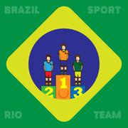 Rio, Brazil, Sport and Team card with first, second and third places champion Stock Illustration
