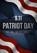 We Will Never Forget. 9 11 Patriot Day background, American Flag stripes Stock Illustration