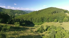 Aerial view of forest, grassland and houses, summer day Stock Footage