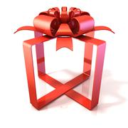 Festive gift ribbon and bow, box shaped, 3D Piirros