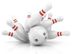 Bowling ball and scattered pin Stock Illustration