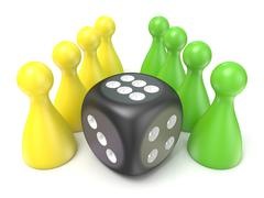 Conceptual game pawns and black dice. 3D - stock illustration