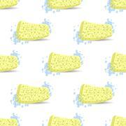 Sponge for Bath Soap Bubbles Seamless Pattern. Stock Illustration