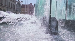 Steadicam shot of sparkling water in a fountain in Wroclaw, Slow Motion 240 fps Stock Footage