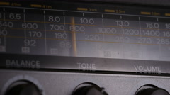 4K Radio signal being tuned in on vintage stereo  Stock Footage