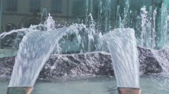 Steadicam shot of sparkling water in a fountain in Wroclaw, 4K UHD Stock Footage