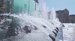 Steadicam shot of sparkling water in a fountain in Wroclaw, Slow Motion 480 fps Stock Footage