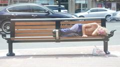 Homeless Man Bench Sleeping Stock Footage